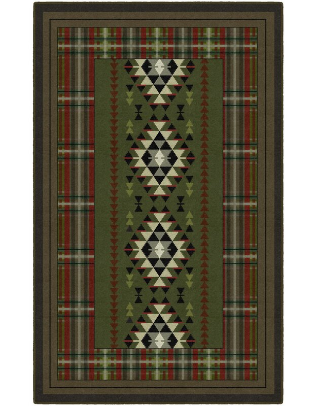Millwood Pines Ansel Lodge Green Area Rug, Size: Rectangle 76 x 10