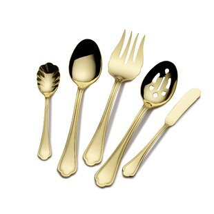 Firenze Gold Plated 45 Piece 18/10 Stainless Steel Flatware Set, Service for 8