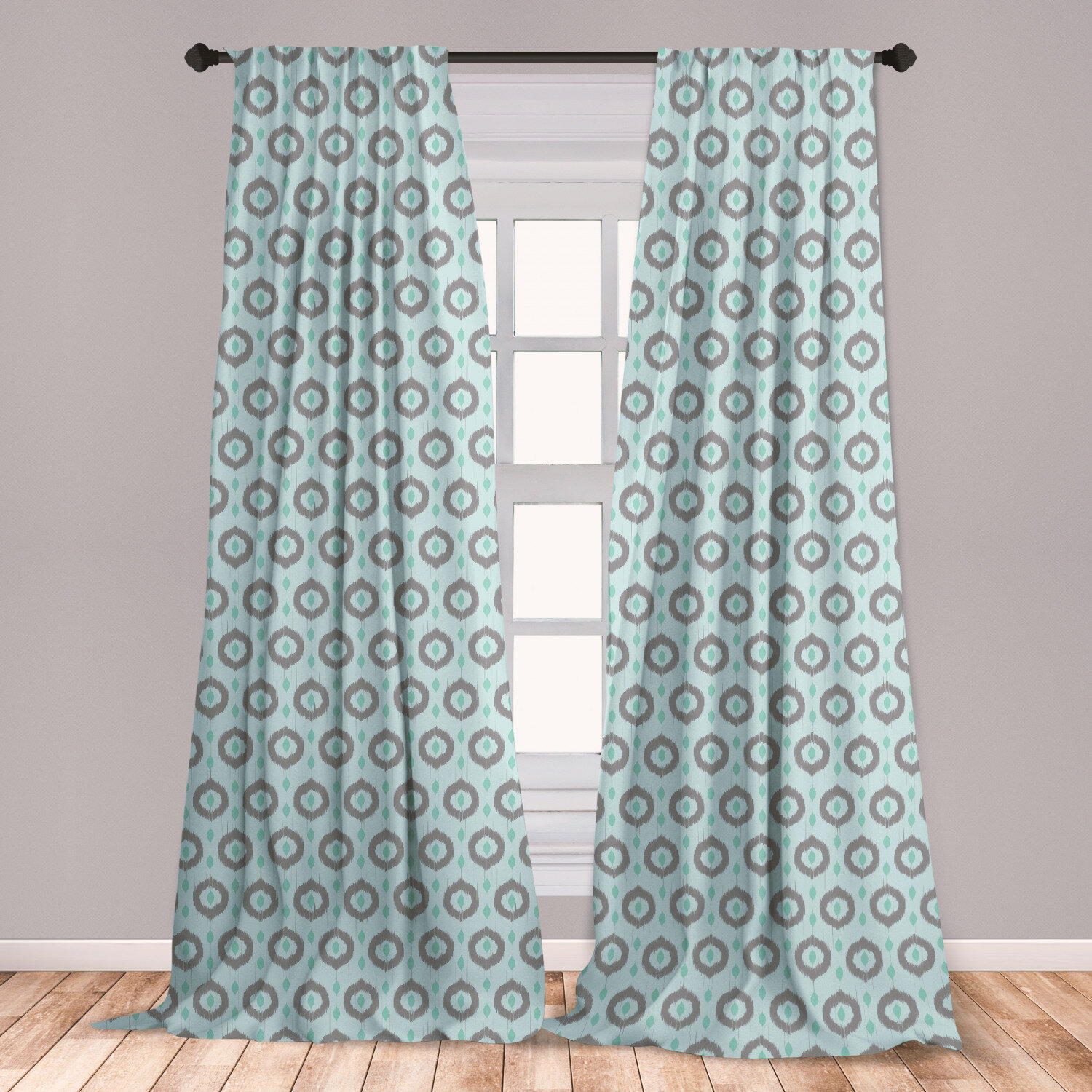 East Urban Home Ambesonne Seafoam Curtains Ikat Style Motifs Circular Pattern With Dots Inspiration Tribal Window Treatments 2 Panel Set For Living Room Bedroom Decor 56 X 63 Seafoam Sea Green Tauperoom