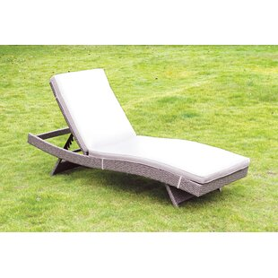 Ebern Designs Paramkusham Patio Reclining Chaise Lounge with Cushion