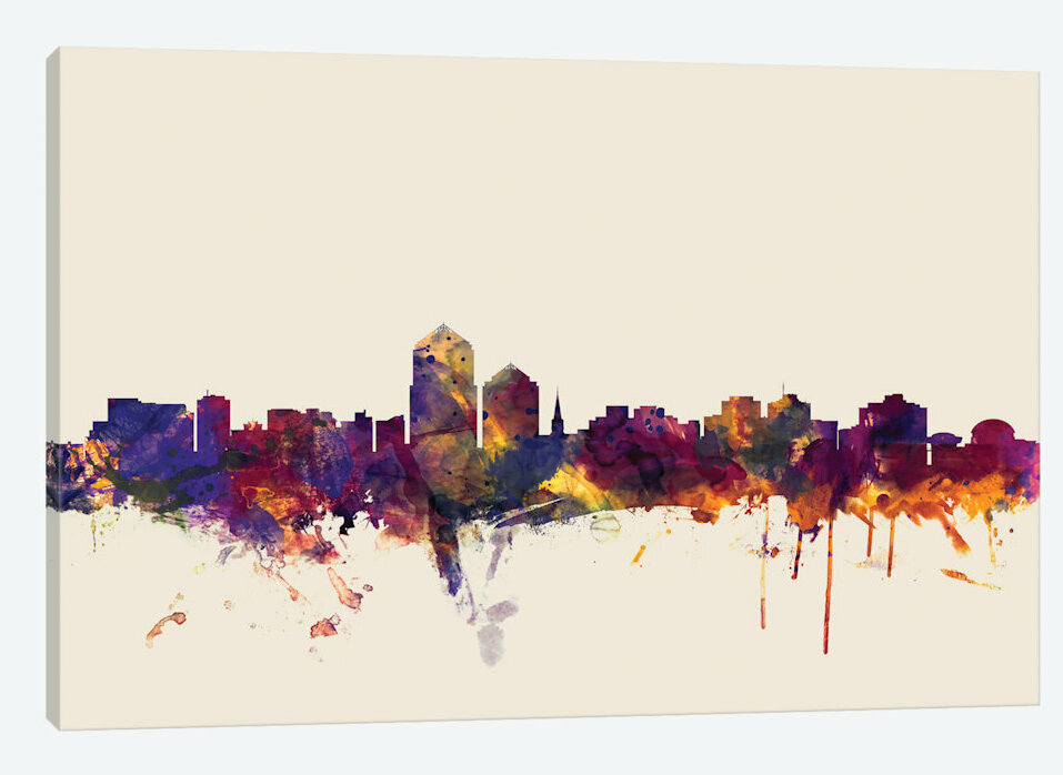 East Urban Home Skyline Series Albuquerque New Mexico Usa On Beige Painting Print On Wrapped Canvas Wayfair