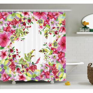 Best Reviews Curly Willow and Dahlia Floral Decor Shower Curtain By East Urban Home