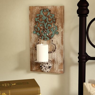 Iron and Wood Wall Candle Holder Lark Manor