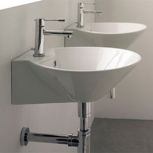Best Reviews Cono 16.5 Ceramic 17 Wall Mount Bathroom Sink with Overflow ByScarabeo by Nameeks