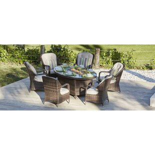 Layton 7 Piece Dining Set with Cushions and Firepit by Bayou Breeze