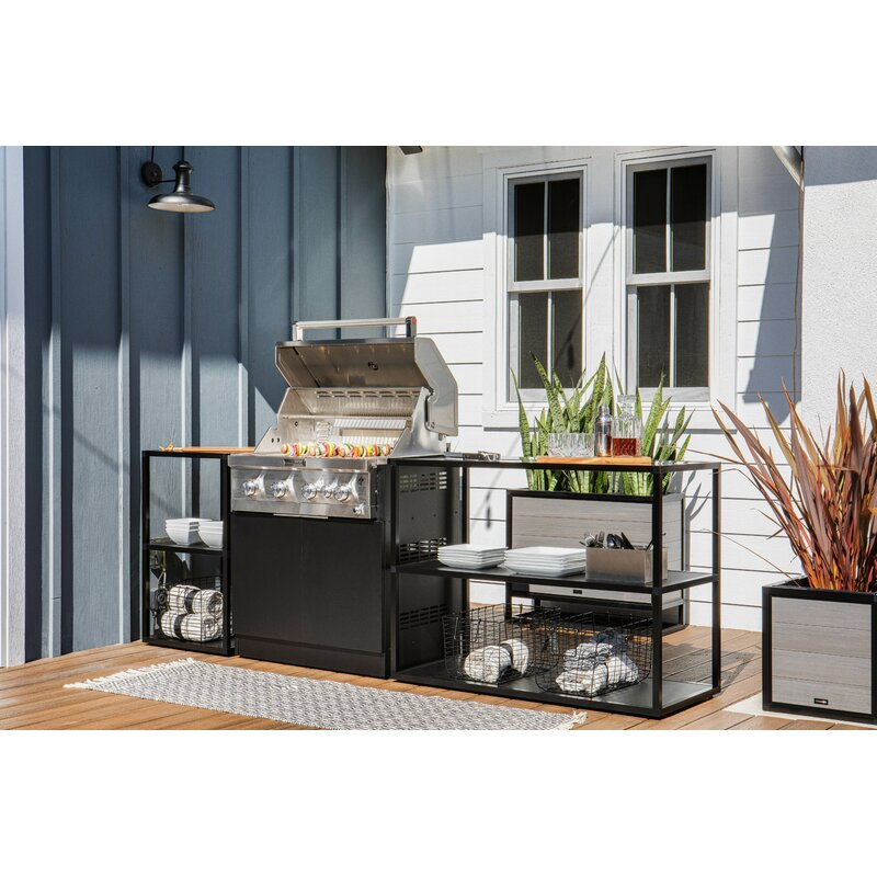 Outdoor Kitchen Series 3-Piece Modular Outdoor Kitchens Grill Not Included