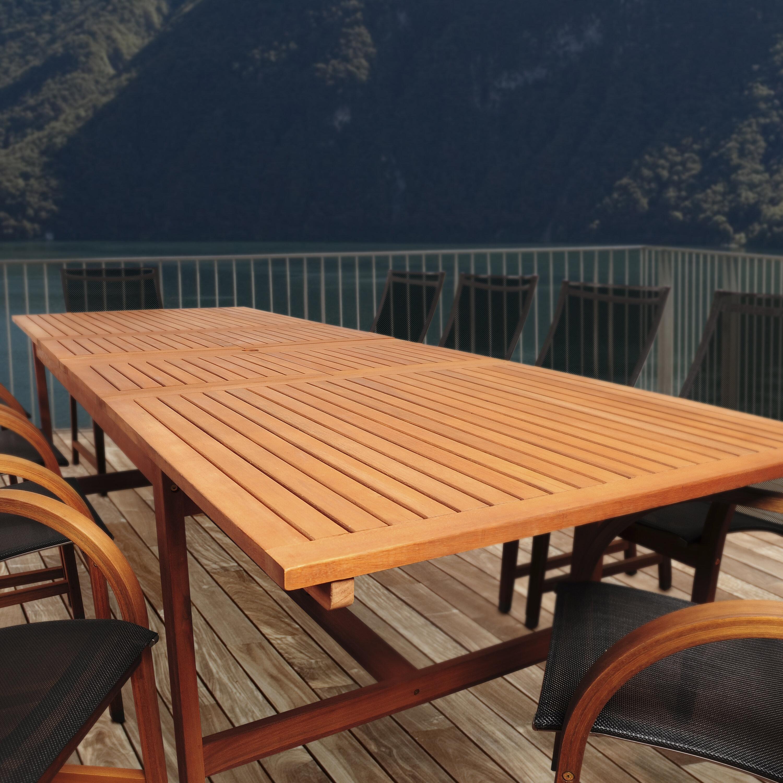 Rosecliff heights bridgepointe extendable eucalyptus wood dining table reviews wayfair