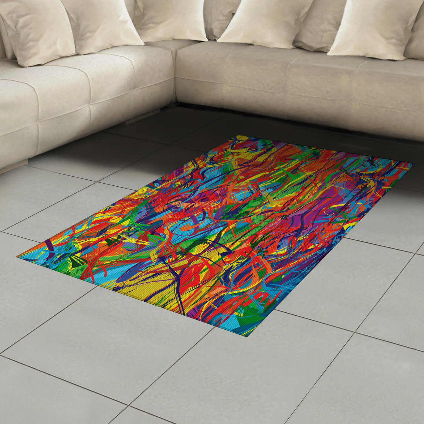 East Urban Home Ambesonne Modern Area Rug Circled Rainbow Like Colourful Lines Like Contemporary Oil Painting Style Artwork Flat Woven Accent Rug For Living Room Bedroom Dining Room 2 6 X 5