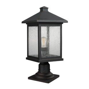 17 Stories Leroy Modern Outdoor 1-Light Glass Shade Pier Mount Light