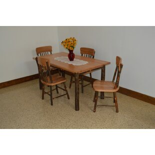 Wyton 5 Piece Solid Wood Dining Set Loon Peak