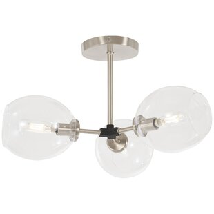 Bargain Glasser 3-Light Semi Flush Mount By Ivy Bronx