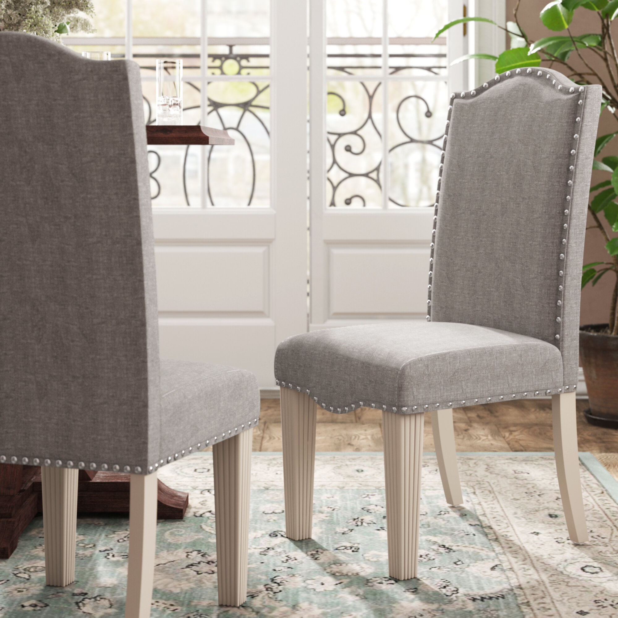 Picture of: One Allium Way Mercedes Upholstered Side Chair In Gray Reviews