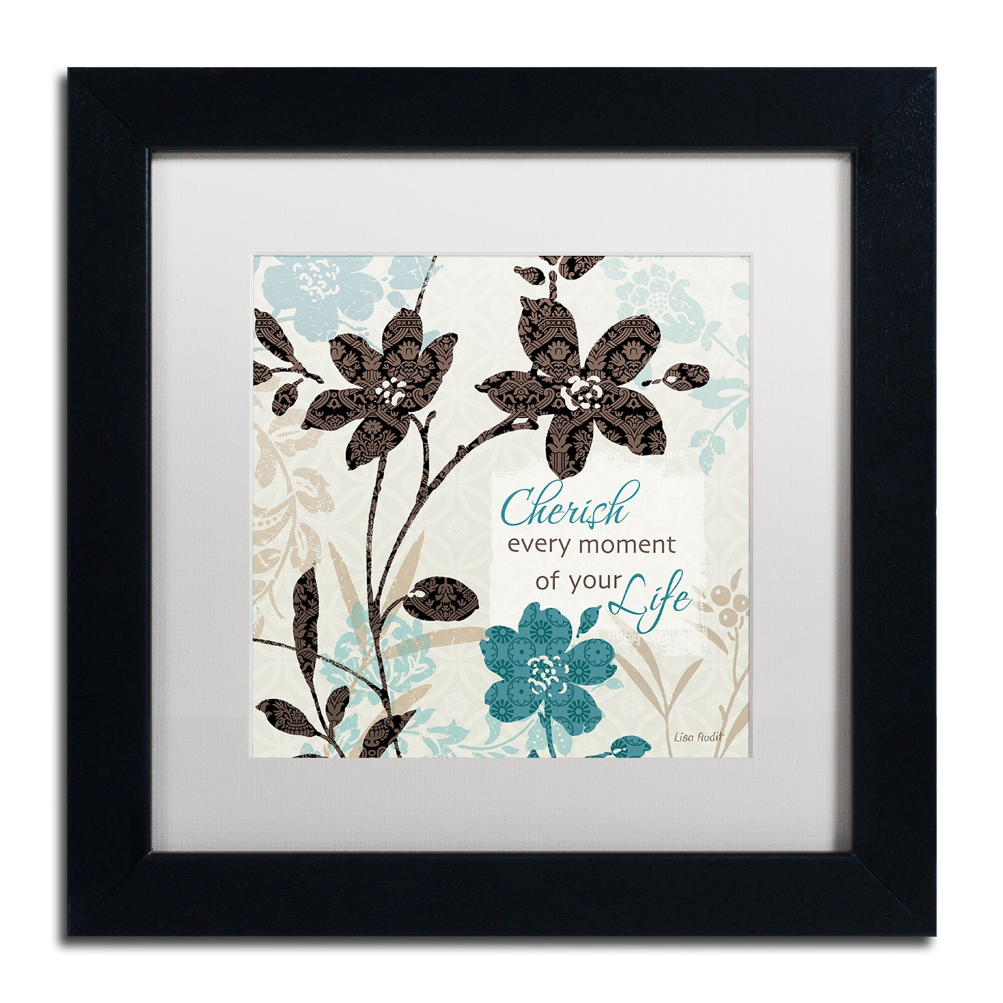 Trademark Art Botanical Touch Quote I By Lisa Audit Framed Graphic Art