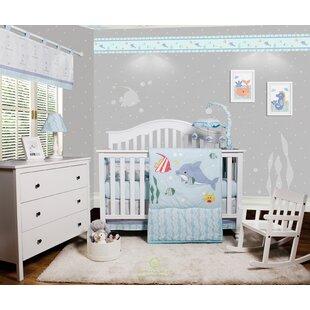 Harrelson Ocean Sea Dolphin Baby Nursery 6 Piece Crib Bedding Set