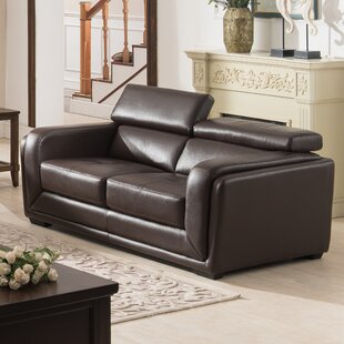 Grayone Leather Loveseat by Brayden Studio