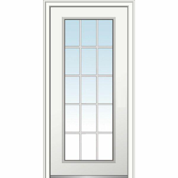 Verona Home Design 1 Lite Steel Primed Prehung Front Entry Door