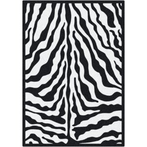Black & White Zebra Glam Black Ink Area Rug