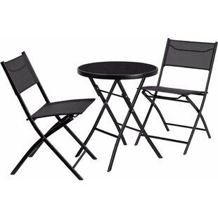 Ebern Designs Louisa Round Tempered Glass Metal 3 Piece Bistro Set