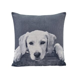 Mears Labrador Puppy Jacquard Printed Decorative Toss Throw Pillow
