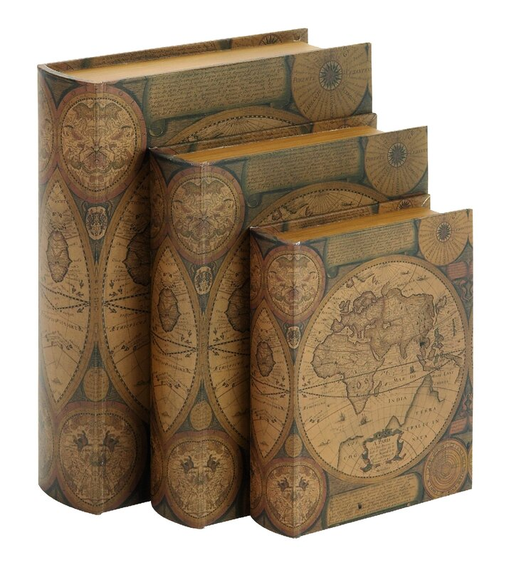 Three posts world map 3 piece leather book box set reviews wayfair world map 3 piece leather book box set gumiabroncs Gallery