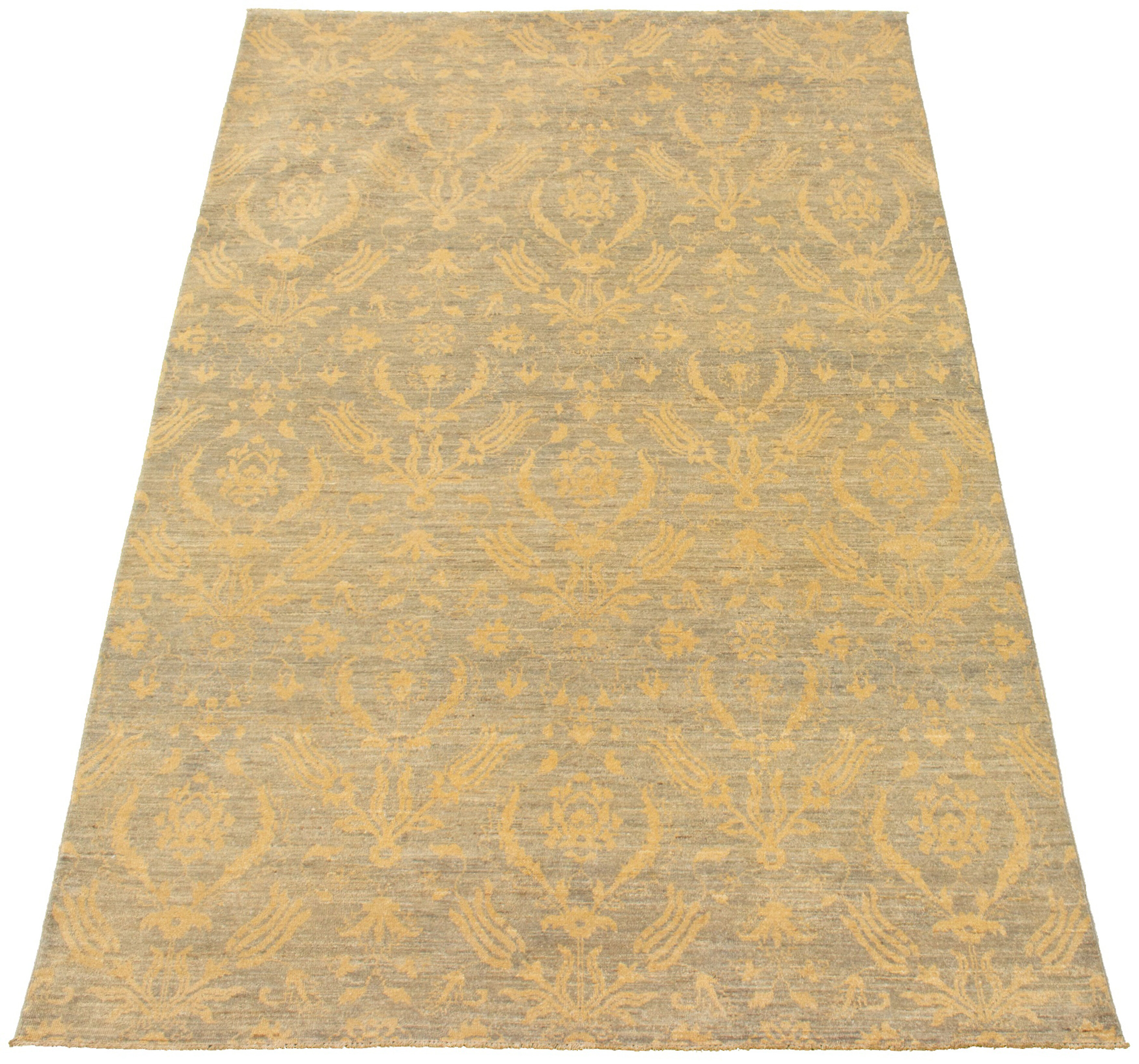 Ophelia Co One Of A Kind Goforth Hand Knotted 2010s Ushak Gray 6 X 9 4 Wool Area Rug Wayfair