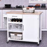 Kyra Rolling Kitchen Cart with Solid Wood Top by Rosalind Wheeler