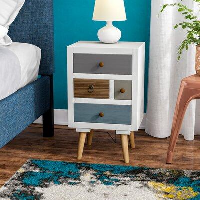 Nachttisch Kourtney | Schlafzimmer > Nachttische | Coloured - Rustic - White - Brown - Yellow | Fjørde & Co