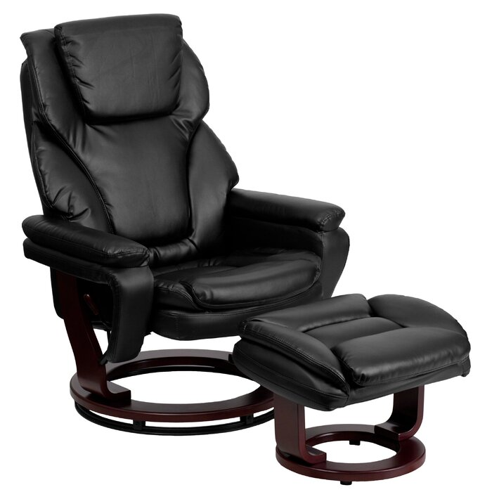 Excellent Robles Manual Swivel Recliner With Ottoman Ncnpc Chair Design For Home Ncnpcorg