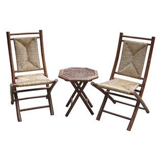 Erkson Bamboo Outdoor Conversation 3 Piece 2 Person Seating Group