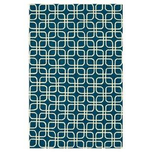 Danko Hand-Hooked Blue/Ivory Indoor/Outdoor Area Rug ByWrought Studio
