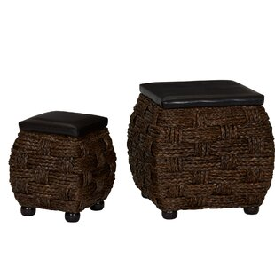 Cassius Wicker 2 Piece Storage Ottoman Set