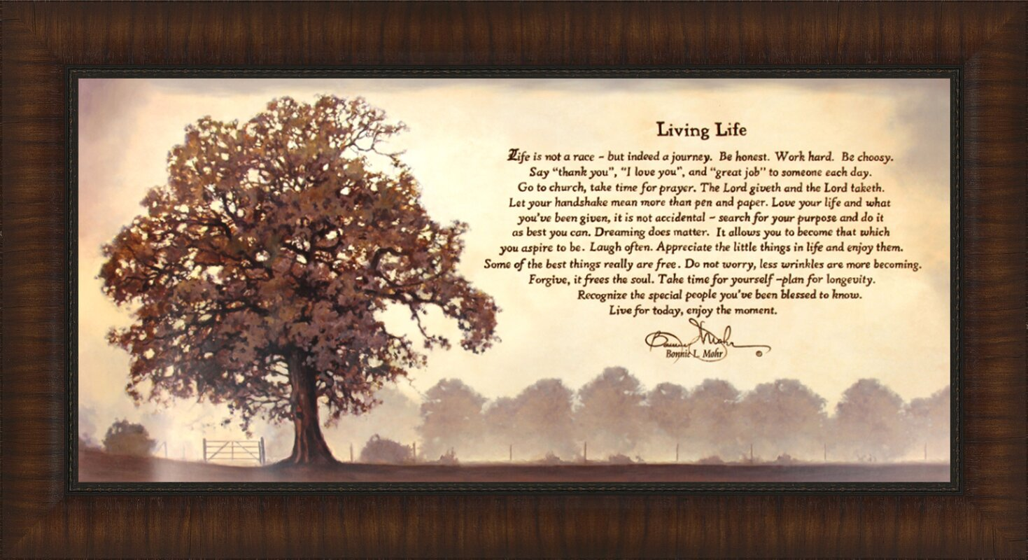 Bonnie Mohr Living Life Quote Red Barrel Studio 'living Life' Rectangle Framed Graphic Art