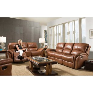 Orren Ellis Czapla Reclining 2 Piece Leather Living Room Set