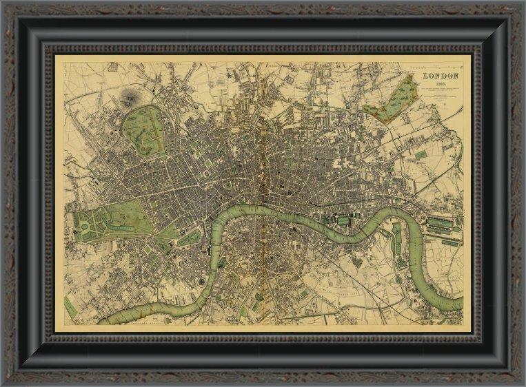 East Urban Home London England 1843 Tea Stained Framed Print Wayfair