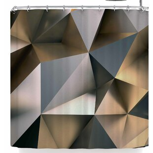 East Urban Home Susan Sanders Modern Metal Silver Gold Shower Curtain
