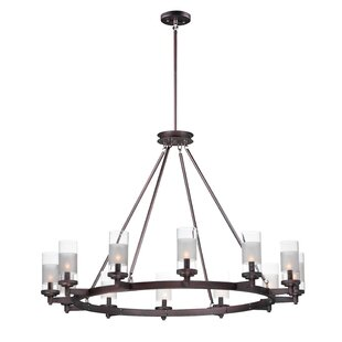 Appomattox 12-Light Wagon Wheel Chandelier by Charlton Home