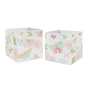 Best Reviews Butterfly Floral Fabric Bin (Set of 2) By Sweet Jojo Designs