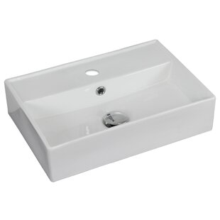 Read Reviews Ceramic Rectangular Vessel Bathroom Sink with Faucet and Overflow By American Imaginations