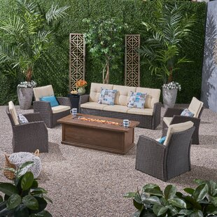 Destinee Outdoor 7 Piece Sofa Seating Group with Cushions