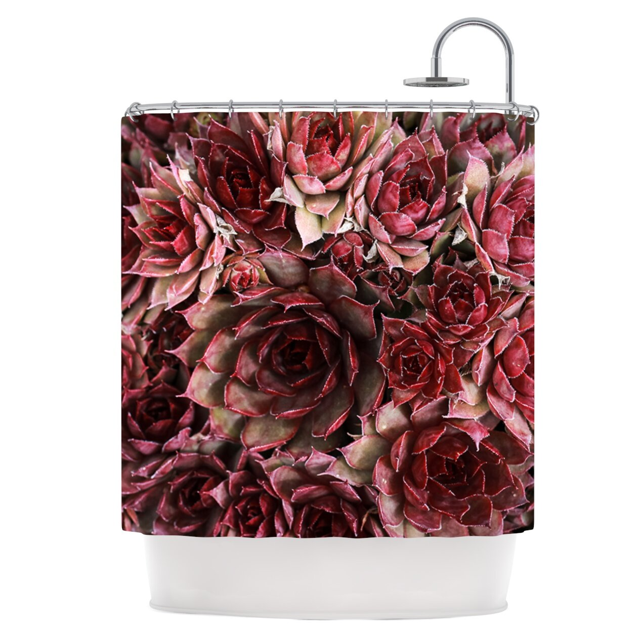 east urban home red succulents shower curtain wayfair