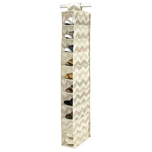 Read Reviews Textured Chevron 10-Compartment Hanging Shoe Organizer By Macbeth Collection