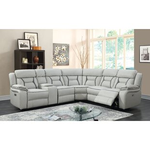 Shop Aston Leather Reclining Sectional by Latitude Run