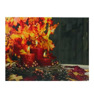 183954e67922c  LED Lighted Triple Tiered Crimson Candles Festive Fall Autumn  Graphic Art  Print on Canvas