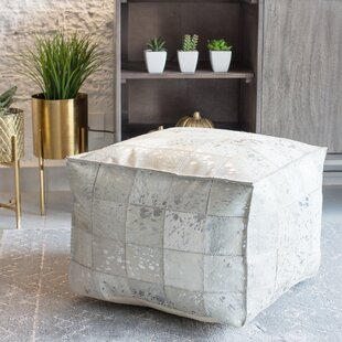 Vernita Foil Leather Pouf by Foundry Select