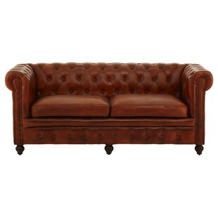 Pautah Genuine Leather 3 Seater Chesterfield Sofa By Rosalind Wheeler