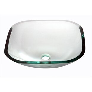 Dawn USA Tempered Glass Square Vessel Bathroom Sink