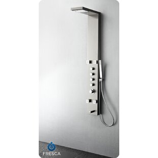 Fresca Verona Five Handle Shower Panel with Single Function Rain Shower Head, Single Function Hand Shower, 4 Massage Jets, and Tub Filler Spout - Valve Included