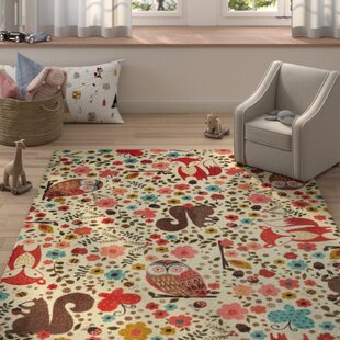 Brasfield Enchanted Forest Cream Red Area Rug