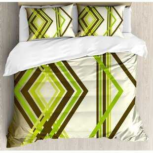 East Urban Home Abstract Geometric Trippy Diamond Shape Bands in Different Shade Illustration Duvet Set