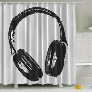 Music Headphones Print Single Shower Curtain